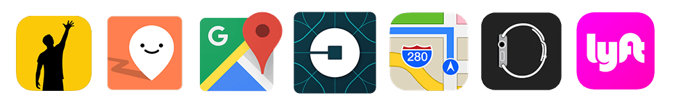 Icons of Gett, Moovit, Google Maps, Uber, Apple Maps, Lyft