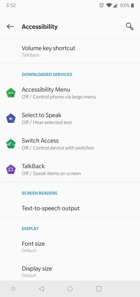 צילום מסך של TalkBack