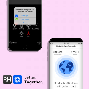 illustration of Be My Eyes app and RightHear