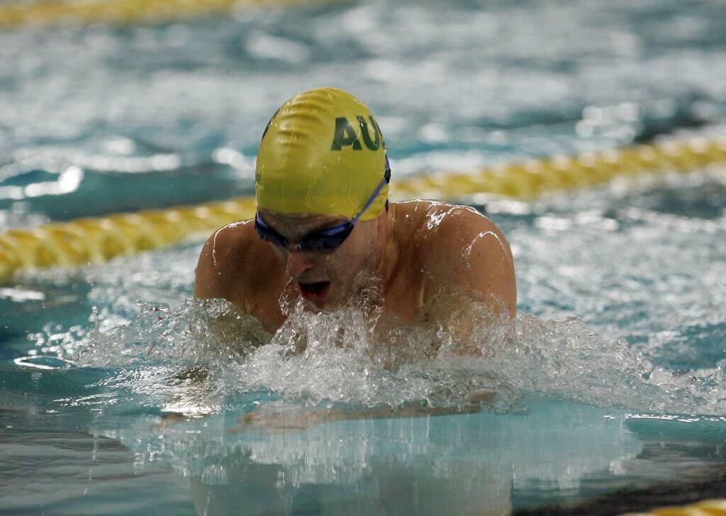 Matt is swimming in a race